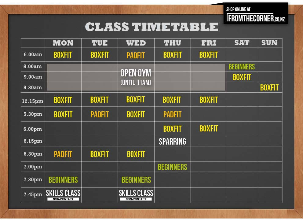 Boxing-Alley-Timetable